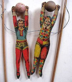 Pair of Victorian Toy Acrobats circa 1880