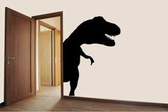 Dinosaur Door Hugger Vinyl Wall Decal Sticker Made from 10 year high quality vinyl which leaves no residue upon removal. Some decals may come in multiple pieces due to the size of the design. Measures