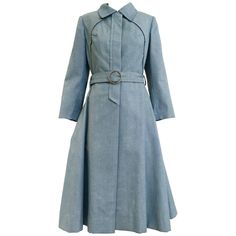 1970s Donald Brooks light blue cotton trench coat   From a collection of rare vintage coats and outerwear at https://www.1stdibs.com/fashion/clothing/coats-outerwear/