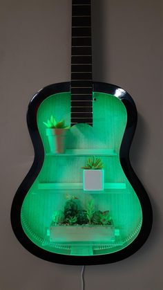 Acoustic Guitar Case, Guitar Art, Guitar Shelf, Small Urns, Guitar Tutorial, Cast Acrylic, Any Music, Color Changing Led, Strobing