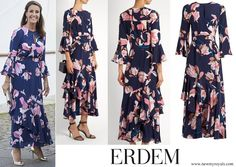Princess Marie in Erdem Florence Kayo Lily-Print Silk Crepe Dress, August 28th, 2017