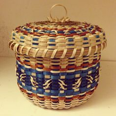 Blue and copper basket made by Mohawk basket maker, Ann Mitchell.