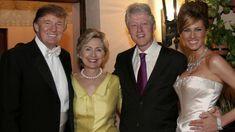 RHINO PHOTO: Donald Trump and Melania Trump with Hillary Rodham Clinton and Bill Clinton at their reception held at The Mar-a-Lago Club, Jan. 22, 2005, in Palm Beach, Fla.