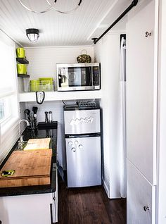 Shoebox Tiny Home   Eclectic   Kitchen   Other Metro   Tennessee Tiny Homes  Clever Idea Cutting Board That Sits Over The Stovetop   Counter Runs Past  Fridge ... Part 48