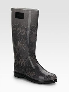 Valentino Lace-Printed Rubber Rain Boots $295.00 by kristina