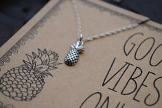 Good Vibes Only Pineapple Necklace  .  Inspirational Charm