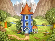 illustrations and art Moomin House, Les Moomins, Moomin Valley, Tove Jansson, Children's Book Illustration, Small World, Little Houses, Troll, Pixel Art
