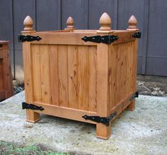 Mission Style Redwood Planter, Craftsman Style, Arts and Craft Style, Outdoor Privacy Screen Shrub Planter Memorial Tree Planter Box, by MidCenturyWoodShop Versailles, Wood Planter Box, Wood Planters, Raised Planter, Garden Planters, Garden Beds, Tree Planters, Joseph Eichler, Privacy Screen Outdoor