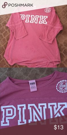 Vs Pink 3/4 tee In good condition. 3/4 tee. Not long sleeve. XS PINK Victoria's Secret Tops