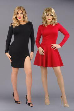 Uber soft crossdressing dresses. The essential little black dress and red swing dress.