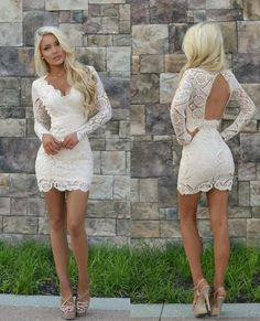White Lace Homecoming Dresses,Long Sleeves Homecoming Dresses,V-neck Sexy Homecoming Dresses,Mini Party Dresses,Club Dresses - How To Be Trendy Long Sleeve Homecoming Dresses, Hoco Dresses, Sexy Dresses, Casual Dresses, Formal Dresses, Summer Dresses, Wedding Dresses, White Club Dresses, Backless Dresses