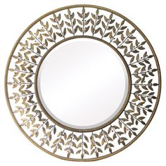 Wall mirror with a leaf-inspired metalwork frame.    Product: Wall mirror   Construction Material: Metal and mirror...