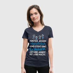 Erzieherin mit Liebe T-Shirts - Frauen T-Shirt mit V-Ausschnitt