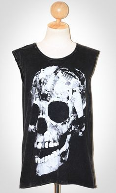 Paper Skull Halloween Bleached Black Singlet Tank Top Sleeveless Art Punk Rock T-Shirt Size L