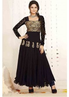 couleur velours noir, costume georgette Anarkali, - 113,00 €, #Robeindienne #Tenueindienne #Tenuepakistanaise #Shopkund