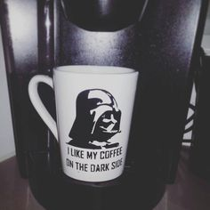 "Darth Vader coffee mug. ""I LIKE MY COFFEE ON THE DARK SIDE"" Check out this item in my Etsy shop https://www.etsy.com/listing/246735051/coffee-mug-star-wars-darth-vader-i-like"