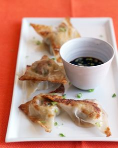 Pot Stickers - Martha Stewart Recipes...so excellent, I highly recommend! I always double the recipe as wontons come in a pkg of 24 and there is plenty of extra cabbage left. The re-heat good too!! My family eats them as fast as each batch is done!