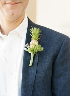 Mini pineapple boutonniere: http://www.stylemepretty.com/washington-dc-weddings/2014/10/02/georgetown-summer-day-wedding/ | Photography: Sweet Tea Photography - http://www.sweetteaphotographybylisamarie.com/