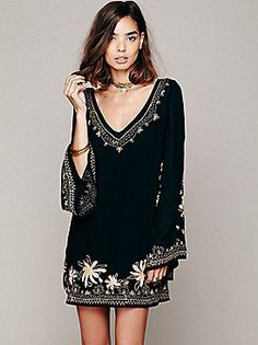 9be33b430dc Free People Skyfall Embroidered Dress at Free People Clothing Boutique  Black Tunic Dress