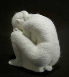 Stephanie Metz Felt Sculpture Crouching Figure