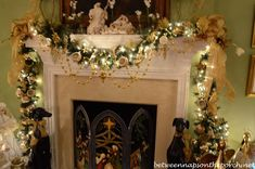 Christmas Mantel in Master Bedroom
