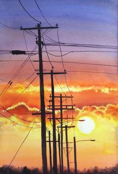 Buy Fire Power - power lines with sunset and clouds – urbanscape - cityscape, Watercolor by Olga Beliaeva Watercolours on Artfinder. Discover thousands of other original paintings, prints, sculptures and photography from independent artists. Watercolor Sunset, Sunset Art, Watercolor Art, Watercolor Paintings For Beginners, Painting Videos, Cool Landscapes, Landscape Paintings, Acrylic Paintings, Sky Landscape