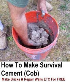 """He calls it survival cement. It's just cob. """"How To Make Survival Cement Great for DIY, making shelters or cookers. great skill to learn Survival Supplies, Survival Food, Homestead Survival, Wilderness Survival, Camping Survival, Outdoor Survival, Survival Prepping, Emergency Preparedness, Survival Skills"""