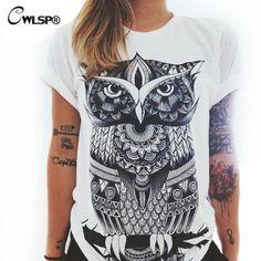 Women T-Shirt 2016 Summer Short Sleeve Printed Retro T Shirt Owl And Palm Eye T Shirts Plus Size 2XL Tee Shirt Femme QA1152 #Dresses #Popular Clothing, Shoes & Jewelry - Women - Clothing - T-shirt women plus size - http://amzn.to/2kJOW9m
