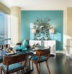 I like the pop in the turquoise! Living Room by Gacek Design Group, Inc. #livingroomideas