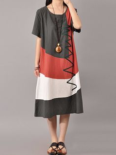 fc2a6c003490b S-5XL Women Casual Short Sleeve Splice Loose O-neck Mid Long Dress