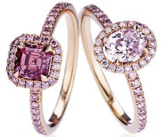 DeBeers Fancy Pink Micropave Aura Rings with Fancy Pink Cushion and Oval Cut Solitaires