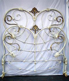Heart Shaped Victorian w/ extremely unique brass. #ironbeds #antiqueironbeds