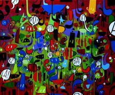 Willow, Notte in festa, 2016, cm 100x120, smalto su tela www.willow-artblog.com