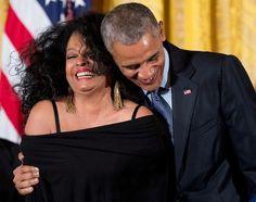 Diana Ross and President Barack Obama