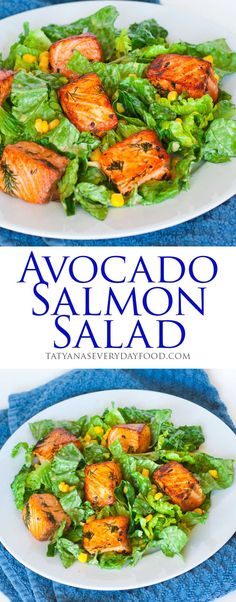 salmon salad, avocado salad, seafood salad, salmon recipe, salad recipe, healthy, video recipe, corn, avocado, romaine lettuce, green goddess salad