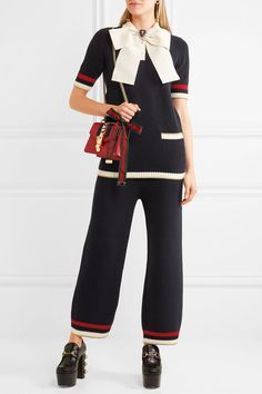 GUCCI cute Striped knitted cotton-blend women's straight-leg pants