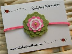 Spring Green and Pink Skinny Elastic Headband or Hair Clip