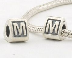 CLLE02-M 925 Sterling Silver Triangle Alphabet letter M Pandora Charms beads Pandora Letters