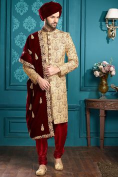 Paired with contrast Maroon art silk fabric bottom. Wedding Dresses Men Indian, Indian Wedding Bride, Wedding Dress Men, Wedding Men, Wedding Suits, Sherwani Groom, Mens Sherwani, Wedding Sherwani, Groom Outfit