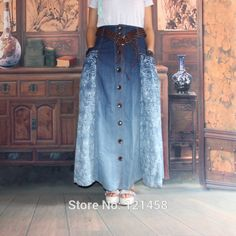 falda larga de jean con estampado