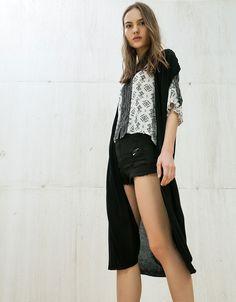 Long viscose jacket - Knitwear - Bershka Romania