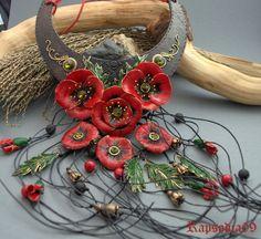 Jewelry from Polymer clay by Polymer Clay Bracelet, Handmade Beads, Handmade Jewelry, Polymer Clay Flowers, Pendant Jewelry, Jewelry Necklaces, Gold Necklace, Statement Jewelry, Poppy