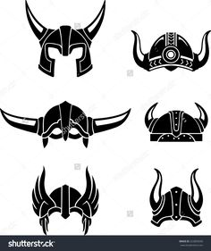 Viking Helmet Set, protective head gear or equipment in medieval times - stock vector                                                                                                                                                                                 More