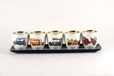 Set of 5 porcelain alcohol shot glasses with old by RetroRetek