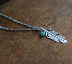 Silver feather with turquoise necklace, mother, wife, sister, daughter, bridesmaid gift, birthday, wedding jewelry, fall fashion,