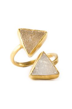 Double Triangle Druzy Ring