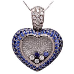 Chopard Happy Diamond Sapphire Diamond Gold Heart-Shaped Pendant