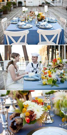 vintage sailor nautical wedding inspiration - driftwood centerpiece!