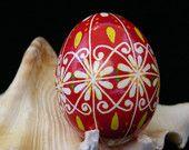 Christmas Ornament Red and White Snowflake Pysanky  Egg. $10.00, via Etsy.