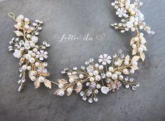 Gold Boho Hair Halo, Bridal Pearl Flower Hair Crown, Hair Wreath, Antique Gold Wedding Hair Vine, Boho Wedding Headpiece - 'ZINNIA'